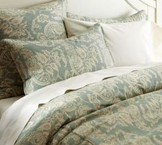 Alessandra Floral Reversible Duvet Cover & Sham - Porcelain Blue | Pottery Barn  - Porcelain Blue: the color of my next bedroom