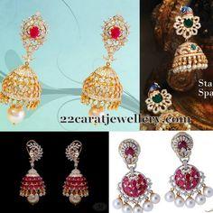 Jewellery Designs: Latest 2015 Diamond Jhumkas