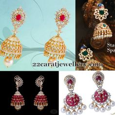 Jewellery Designs: Latest 2015 Diamond Jhumkas