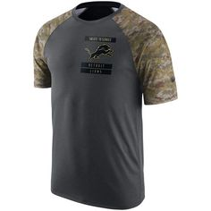 Men's Detroit Lions Nike Anthracite Salute to Service Performance Raglan T-Shirt