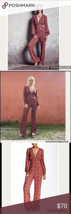NWT Free People Some Like It Rust Jumpsuit Sz 2 Brand new.Free People brand offers bohemian luxury apparel and accessories for a free spirited fashion lifestyle. Size: 2 Manufacturer Color: Rust Combo Retail: $168.00 Condition: New with tags Style Type: Jumpsuit  Neckline: V-Neck Sleeve Length: Long Sleeve Bottom Closure: Hidden Side Zipper Waist Across: 13 1/2 Inches Inseam: 30 Inches Rise: 15 Inches Bust Across: 17 Inches Material: 52% Viscose/48% Rayon Fabric Type: Woven Specialty: Floral…