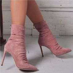 38902a58a6 Boussac Pointed Toe High Heel Sock Boots Suede Leather Short Ankle Boots  for Women Sexy High