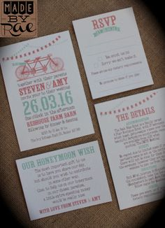Personalised wedding invites rustic bicycle bunting tandem coral mint any colour