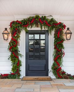 "Southern Home's Instagram photo: ""Raise your hand if you're ready to deck the halls! This incredible garland makes the perfect first impression as you walk into the home.…"""