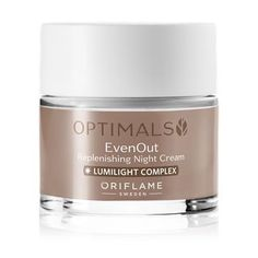 Even Out Night Cream  Call 08059203313 (WhatsApp Enable). Optimals Even Out Replenishing Night Cream is a rich, nourishing night cream that reduces the appearance of dark spots, helps prevent future dark spots and promotes a more radiant and even complexion. Formulated with a Swedish natural ingredient blend and LumiLight Complex. Dermatologically tested and suitable for all skin types.