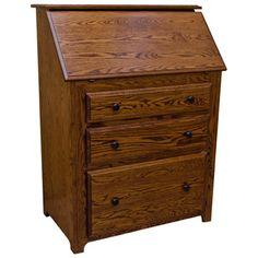 Amish Traditional Drop Front Desk Oak Secretary