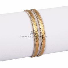 Necklaces Simple Dual Tone Prestige - Available Size : sizes can be made to order. Plain Gold Bangles, Gold Bangles Design, Gold Jewellery Design, Silver Bracelets, Bangle Bracelets, Silver Jewelry, Designer Bangles, Necklaces, Gravure Metal