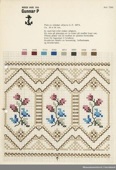 Printed pattern sheet in format for embroidered textiles. Cross Stitch Borders, Cross Stitch Rose, Cross Stitch Flowers, Cross Stitch Charts, Cross Stitch Designs, Cross Stitching, Cross Stitch Patterns, Blackwork Embroidery, Cross Stitch Embroidery
