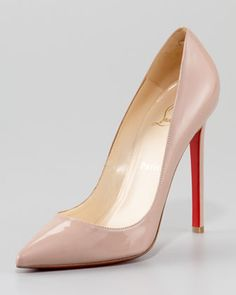 Pigalle Patent Pump, Nude by Christian Louboutin at Neiman Marcus. CLASSIC