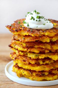 This 5-ingredient butternut squash fritters are perfect for upcoming Thanksgiving day    Source: www.justataste.com