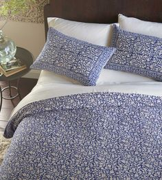 Indigo Block Print Bedding - Our bedding is hand-printed by artisans in northwest India. Intricate patterns are carved into wood blocks that are then dipped into natural color dyes and pressed onto 100% pesticide-free, locally grown cotton. Proceeds provide critical income to an area plagued by drought and acute poverty. Fair Trade certified. http://www.vivaterra.com/indigo-chain-border-bedding.html