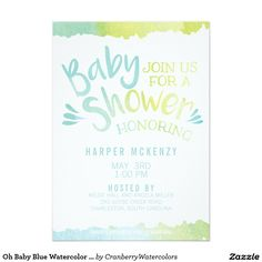Oh Baby Blue Watercolor Baby Shower 5x7 Paper Invitation Card