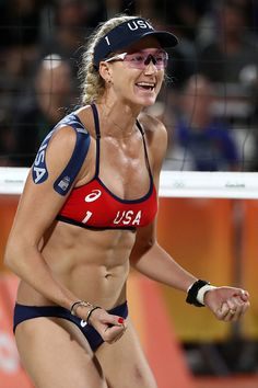 #RIO2016 Kerri Walsh Jennings of United States celebrates during the Women's Beach Volleyball preliminary round Pool C match against Fan Wang and Yuan Yue of...