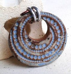 Ceramic Pendant in rustic Desert Sky Blue, Swirl of Dots, handcut and handmade from stoneware clay