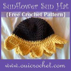 This crochet sunflower sun hat is one of the many free crochet patterns by Crochet Cap, Crochet Girls, Crochet Bebe, Newborn Crochet, Crochet Baby Hats, Crochet For Kids, Crochet Clothes, Free Crochet, Crocheted Hats