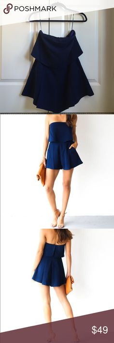 Strapless Navy Romper Fits XS or S. Great construction, nice thick fabric, fully lined navy strapless romper with shelf-top, vent details at back and pockets!  Only worn once like new. Pants Jumpsuits & Rompers