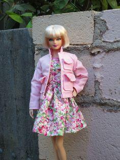 "OOAK ""Impatiens"" dress and jacket for model muse Barbie"