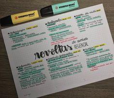 ✨ Resumo sobre As Revoltas do Período Regencial - História do Brasil ✨ P Mental Map, Study Cards, Bullet Journal Banner, Stabilo Boss, Study Planner, Cute Notes, Studyblr, Lettering Tutorial, School Notes