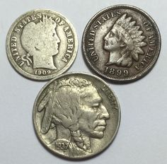 Coin lot w/ Barber dime, Indian Head penny w/ part LIBERTY and a Buffalo nickel.