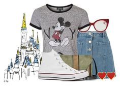 """""""It's a Disney thing ✨ #171"""" by sweet-carol ❤ liked on Polyvore featuring Miss Selfridge, Miu Miu, Topshop, L'Autre Chose and Converse"""