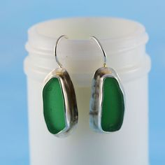 Bright Green Sea Glass Earrings, Sterling Silver Cage E38
