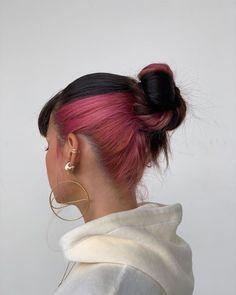 Pink Hair Dye, Hair Dye Colors, Dye My Hair, Underdye Hair, Make Hair, Tip Dyed Hair, Trendy Hair Colors, Curly Pink Hair, Pink Blonde Hair