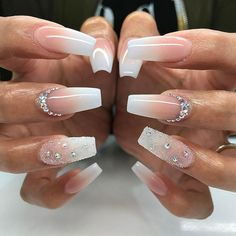 20 Worth Trying Long Stiletto Nails Designs - Stylendesigns awesome 25 Fancy White Coffin Nails - Bright and Fasionable Designs Long Stiletto Nails, White Coffin Nails, Long Acrylic Nails, White Nails, Long Nails, Coffin Ombre Nails, Short Nails, Clear Acrylic, Diamond Nail Designs