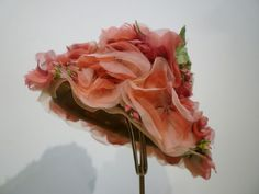 Miss Alice flowerpot hat in red and pink silk flowers (side view) | United States, 1950's