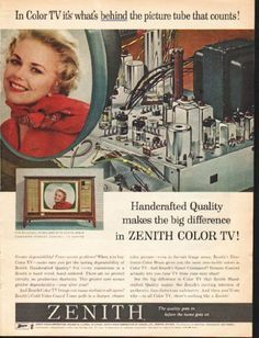 "1962 ZENITH COLOR TV vintage magazine advertisement ""the picture tube"" ~ In Color TV it's whats behind the picture tube that counts! - Handcrafted Quality makes the big difference in Zenith Color TV! ~"