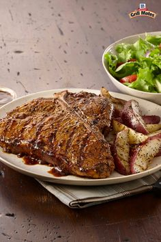 The ultimate grilled steak recipe features a T-bone layered with Montreal Steak Seasoning and Steak Sauce. Serve with seasoned grilled potatoes for the perfect main dish at a summer cookout. Entree Recipes, Grilling Recipes, Brunch Recipes, Cooking Recipes, Grilled Steak Recipes, Pork Recipes, Mccormick Recipes, Healthy Sauces, Healthy Food