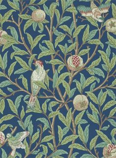 Tapete Bird & Pomegranate von Morris & Co. - Blue/ Sage