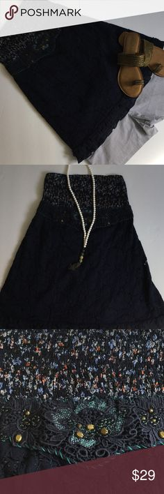 Free People navy strapless top❤️❤️❤️❤️ Free People navy strapless top. Top has navy crochet under empire waist that is slightly see through because of the nature of crochet. The approx length from top of strapless top to bottom of hem is 22 inches. The shorts are available on a separate listing Free People Tops