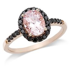 14k Rose Gold 1.15 cttw Morganite and 0.26 cttw Black Diamond Cocktail... ($454) ❤ liked on Polyvore