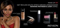 How to get Revlon South Africa Brand Ambassador Bonang Matheba's look Revlon Lipstick, Volume Mascara, Brand Ambassador, Makeup Tips, South Africa, Blush, Eyeshadow, Hair Beauty, Make Up