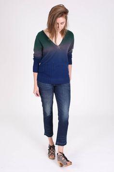 Raquel Allegra Deep V-Neck Dip Dye Pullover in Midnight at Vert & Vogue