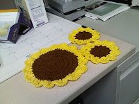 Sunflower Dishcloth and Coasters patterns free