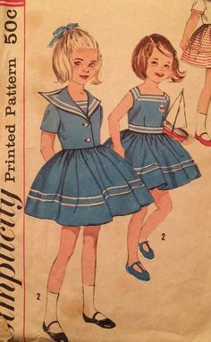Sailor Style Girl's Dress and Jacket Vintage by LagunaLane Vintage Kids Clothes, Vintage Girls, Vintage Dresses, Vintage Outfits, Childrens Sewing Patterns, Vintage Sewing Patterns, Clothing Patterns, Sailor Outfits, Sailor Dress