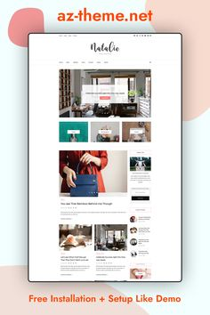"WordPress Blog Theme for Bloggers ""Natalie"" – Feminine WordPress and Shop Theme – WordPress WooCommerce Theme – Free Installation. Purchasing this theme you take advantage of FREE SUPPORT & INSTALLATION. Message us your blog name after placing your order, we will edit the header image for you for FREE."