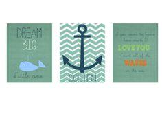 Nursery Wall Art Kids Nautical Monogram Digital Print