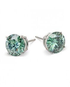 Stelle Verdi Green Round Brilliant #Moissanite Earrings, only at moissanite.com
