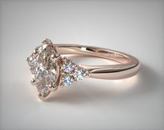 Triple Diamond Engagement Ring | 14K Rose Gold | James Allen | 17146R14 - Mobile