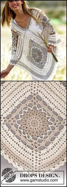 Transcendent Crochet a Solid Granny Square Ideas. Inconceivable Crochet a Solid Granny Square Ideas. Crochet Bolero, Poncho Au Crochet, Poncho Knitting Patterns, Crochet Shawls And Wraps, Crochet Motifs, Granny Square Crochet Pattern, Crochet Squares, Crochet Lace, Crochet Patterns