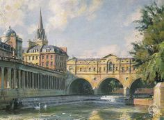 John Stobart - Bath: The Pultney Bridge Over The River Avon. Limited edition print from original the oil painting. Size: 12″ x 16″ Edition: 350  -- on ScrimshawGallery.com #JohnStobart #Stobart