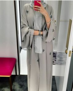 hijab abaya e're starting today with ABAYAS! Modern Abaya, Modern Hijab Fashion, Abaya Fashion, Muslim Fashion, Modest Fashion, Jeans Fashion, Fashion Fashion, Fashion Outfits, Fashion Design