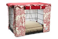 IT'S A DOG'S LIFE  Toile Crate Cover, Red  BOWHAUSNYC
