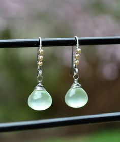 Modern Mixed Metal Glowing Prehnite Earrings, Mint Green Prehnite Drop Earrings, Oxidized Silver & Gold Prehnite Gemstone Dangle Earrings by WhimsybyKT on Etsy https://www.etsy.com/listing/183483581/modern-mixed-metal-glowing-prehnite