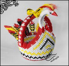 Swan origami 3d basket tutorial -> mikaglo.blogspot.com