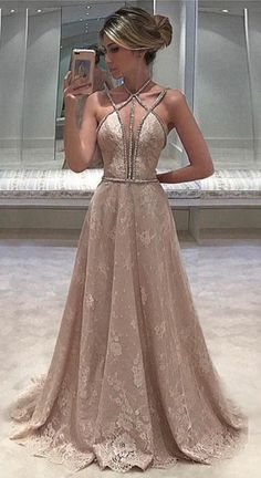 Simple Prom Dresses, lace prom dress sexy prom dress prom dress champagne evening dress long prom dresses prom dress for women LBridal V Neck Prom Dresses, Lace Evening Dresses, Sexy Dresses, Lace Dress, Dress Prom, Dress Straps, Long Formal Dresses, Pageant Dresses For Women, Wedding Dresses