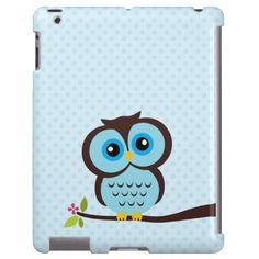 Cute Blue Owl iPad Case