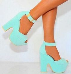 9d6e5348ba3 Shoe closet would like to present to you these mint green faux suede chunky peep  toe ankle strap platform block high heel shoes